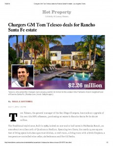 Chargers GM Tom Telesco deals for Rancho Santa Fe estate - Los Angeles Times_Page_1